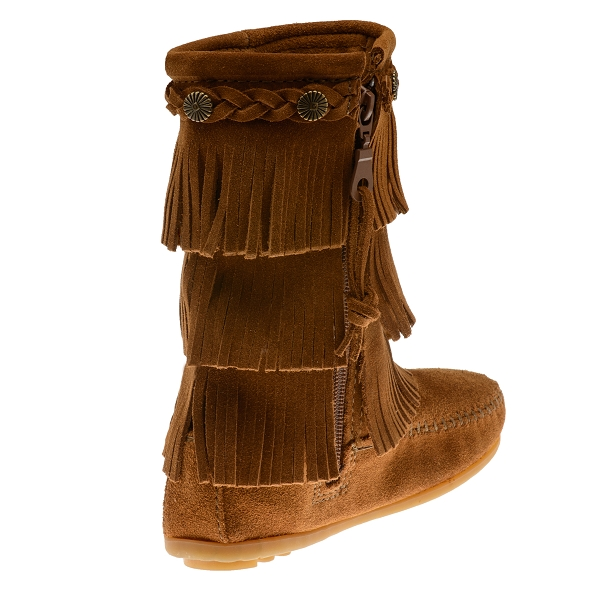 minnetonka moccasins 2652 children s 3 layer fringe boot