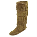 Minnetonka Moccasins 1657T - Women's 5 Layer Fringe Boot - Taupe Suede