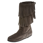 Minnetonka Moccasins 1681T - Women's Calf High 2 Layer Fringe Boot - Grey Suede