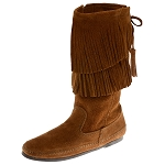 Minnetonka Moccasins 1682 - Women's Calf High 2 Layer Fringe Boot - Brown Suede