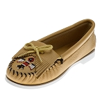 Minnetonka Moccasins 176 - Women's Thunderbird Boat Sole Moccasin - Natural Smooth Leather