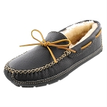 Minnetonka Moccasins 3759 - Men's Sheepskin Lined Moosehide Slipper - Black
