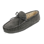Minnetonka Moccasins 4150 - Men's Casey Slipper - Pile Lined - Charcoal Suede