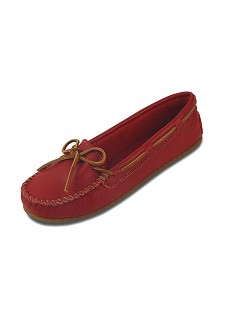 0617R Minnetonka Moccasins Women's Red Smooth Leather Boat Moccasin