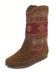 Minnetonka Moccasins 1573 - Women's Baja Boot - Brown Suede with Patterned Shaft