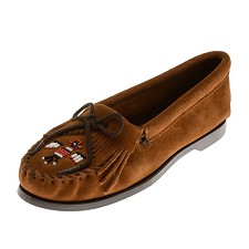 Minnetonka Moccasins 173 - Women's Thunderbird Boat Sole Moccasin - Brown Suede