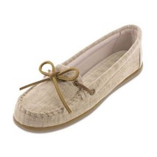 Minnetonka Moccasins 231 - Women's Canvas Moccasin - Natural