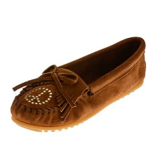 Minnetonka Moccasins 332 - Women's Peace Moccasin - Brown Suede