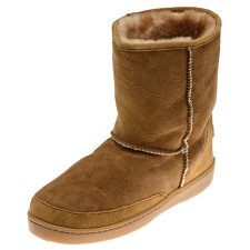 Minnetonka Moccasins 3571 - Women's Short Sheepskin Pug Boot - Golden Tan