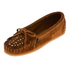 Minnetonka Moccasins 362 -  Women's Double Studded Moccasin - Brown Suede