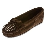 Minnetonka Moccasins 368 -  Women's Double Studded Moccasin - Chocolate Suede