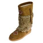 Minnetonka Moccasins 3783 - Women's Tall Mukluk Boot - Pile Lined - Dusty Brown Suede