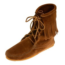 Minnetonka Moccasins 422 - Women's Ankle High Tramper Boot - Hardsole - Brown Suede