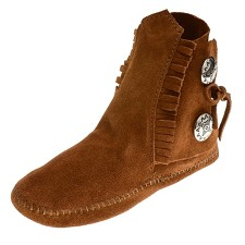 Minnetonka Moccasins 432 - Women's Two Button Softsole Boot - Brown Suede