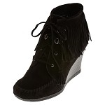 minnetonka moccasins 84020 limited edition black ankle hi wedge boot