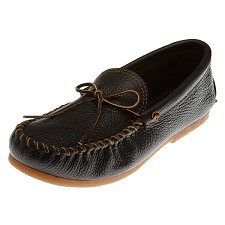 Minnetonka Moccasins 979 - Men's Street Moccasin - Black Smooth Leather