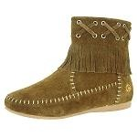 Peace Moccasins - Women's Madison Hardsole Boot - Chocolate Suede