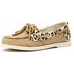 Lamo Moccasins - Women's Cruiser Moccasin - Natural/Leopard Print Canvas SW1301-NATURAL/LEOPARD