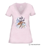 Ride The Waves - Pink - 41-6337- Women's Triblend V-Neck Tee
