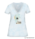 Good Vibes Only - Blue - 41-6339 - Women's Triblend V-Neck Tee