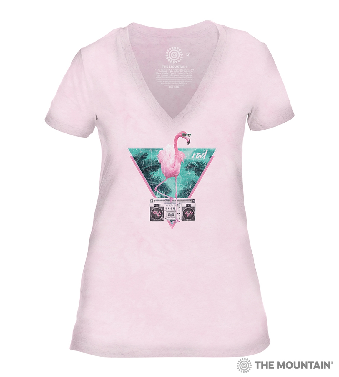 Rad Flamingo - Pink - 41-6342 - Women's Triblend V-Neck Tee