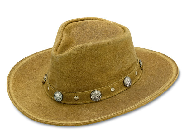 Minnetonka 9511 - Western Hat with Buffalo Nickel Accents - Tan Rough Leather