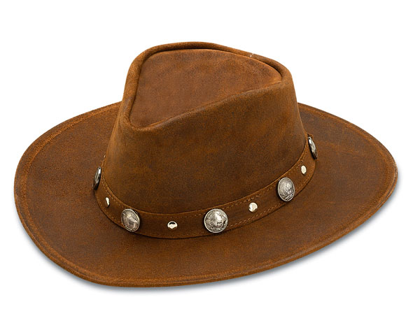 Minnetonka 9513 - Western Hat with Buffalo Nickel Accents - Brown Rough Leather