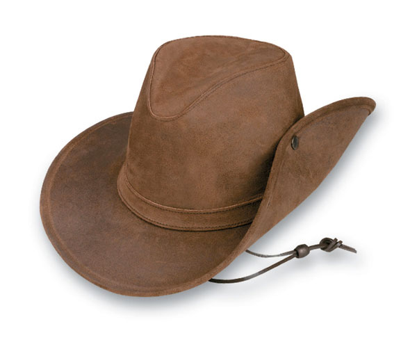 Minnetonka 9543 - Aussie Hat with Side Snap - Brown Rough Leather