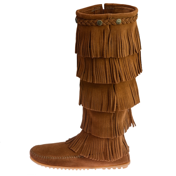Minnetonka Moccasins 1652 - Women's 5 Layer Fringe Boot - Brown ...