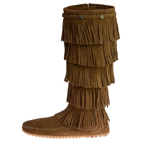 MINNETONKA 3 Fringes Moccasins 1638 Hardsole Brown Suede Women/'S  Knee High Boot