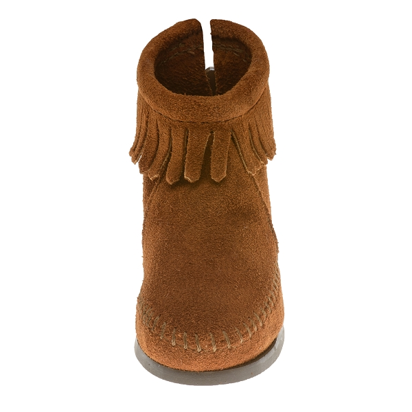 Boots leather//moccasin fringe minnetonka child has 2282 2289 black brown new