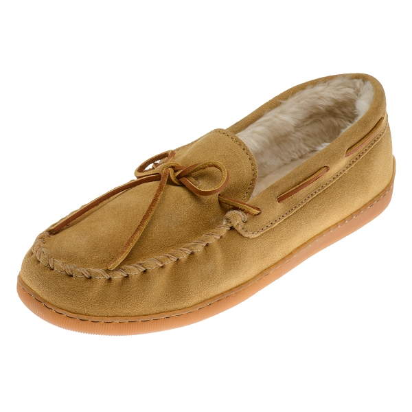 Minnetonka Moccasins 3901 Mens Pile Lined Hardsole Moccasin Tan Suede