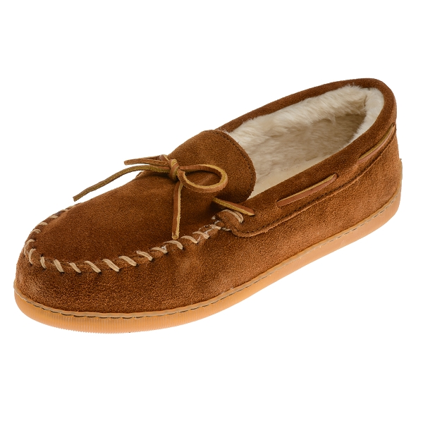 26d1ae34f76 ... Men s Pile Lined Hardsole Moccasin - Brown Suede. Tap to expand.  Minnetonka Moccasins 3902