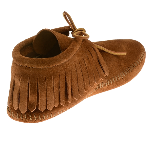 Minnetonka Moccasins 0882 Mens Classic Fringed Softsole Ankle Boot Brown Suede on Latest Write A Review 2