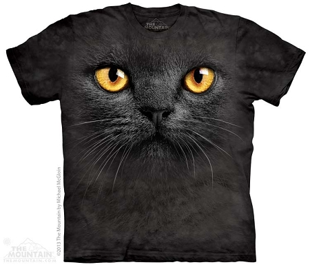 Big Face Black Cat - 10-3666 - Adult Tshirt