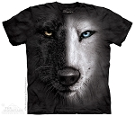 Black And White Wolf Face - 10-3947 - Adult Tshirt