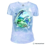 Dolphin Bubbles - 26-5896 - Women's Triblend Crew-Neck Tee