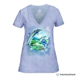 Dolphin Bubble - 41-5896 - Women's Triblend V-Neck Tee