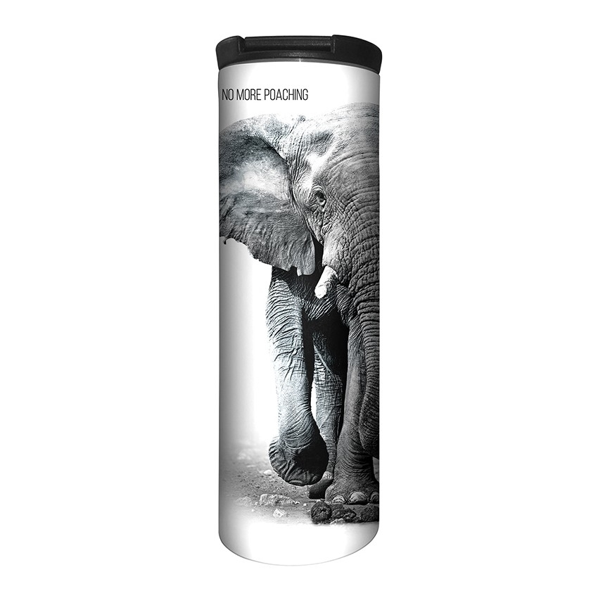 Elephant No More Poaching - 59-5550 - Stainless Steel Barista Travel Mug