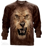 Big Face Roaring Lion - Adult Long Sleeve T-shirt