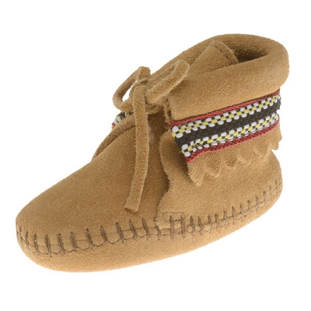 Minnetonka Moccasins 1101 - Infants Braid on Cuff Bootie - Tan Suede