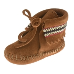 Minnetonka Moccasins 1102 - Infants Braid on Cuff Bootie - Brown Suede