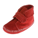 Minnetonka Moccasins 1120 - Infants Front Strap Bootie - Red Suede
