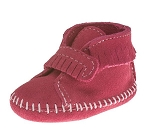 Minnetonka Moccasins 1121 - Infants Front Strap Bootie - Pink Suede