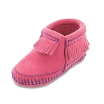 Minnetonka Moccasins 1160 - Infants Riley Bootie - Pink Suede