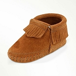 Minnetonka Moccasins 1162 - Infants Riley Bootie - Brown Suede