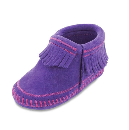 Minnetonka Moccasins 1164 - Infants Riley Bootie - Purple Suede
