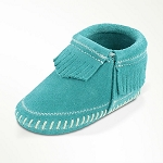 Minnetonka Moccasins 1166 - Infants Riley Bootie - Turquoise Suede