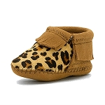 Minnetonka Moccasins 1179 - Infants Riley Bootie - Leopard Taupe Suede