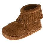 Minnetonka Moccasins 1182 - Infants Back Flap Bootie - Brown Suede